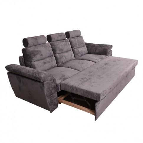 Canapea extensibila 3 locuri Rodos, cu lada, gri, 250 x 90 x 105 cm, 4C