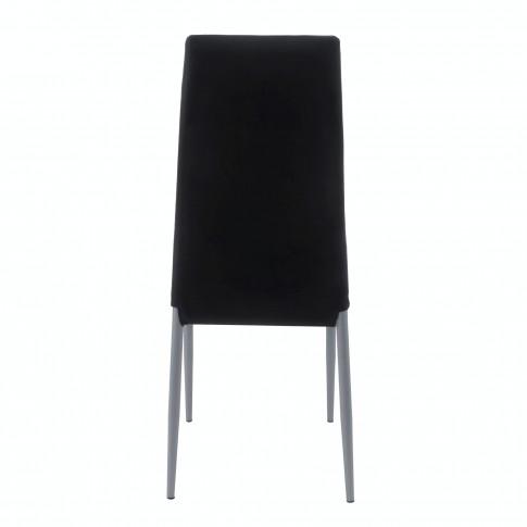 Scaun bucatarie / living fix S-11, tapitat, metal gri + imitatie piele neagra, 1C