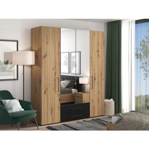 Dulap dormitor Sardinia 4K2F2O, stejar artisan + negru, 4 usi, 189 x 55.6 x 226.5 cm, 5C