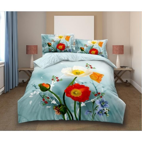 Lenjerie de pat Iris, 2 persoane, microfibra, model floral, 4 piese