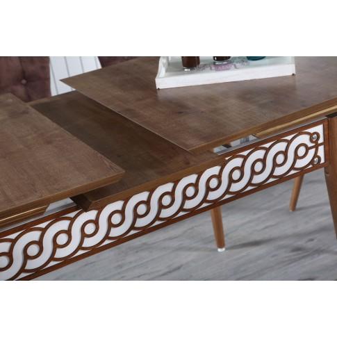Set masa extensibila cu 6 scaune tapitate Roma, bucatarie, stejar inchis + maro, 2C