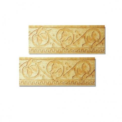 Bordura ceramica pentru gresie, Nogal, bej, lucioasa, dreptunghiulara, 15 x 45 cm