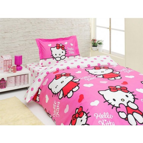 Lenjerie de pat, copii, 1 persoana, Disney Hello Kitty Miss Love, bumbac 100%, 3 piese, roz