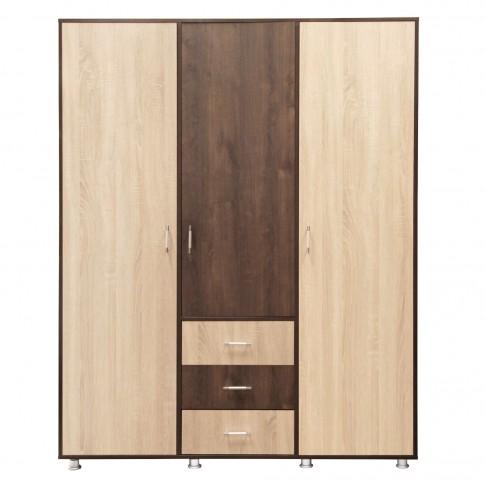 Dulap dormitor Anda, stejar bronz + stejar sonoma, 3 usi, 160 x 58 x 205 cm, 4C
