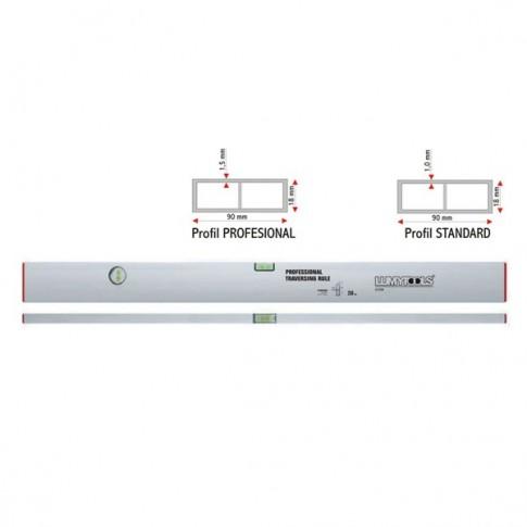Dreptar aluminiu, pentru constructii, Lumytools LT17821, cu 2 indicatori, 2 m