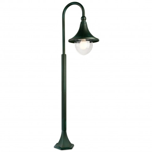Stalp de iluminat ornamental Varese 9793, 1 x E27, H 120 cm, finisaj negru cu patina verde