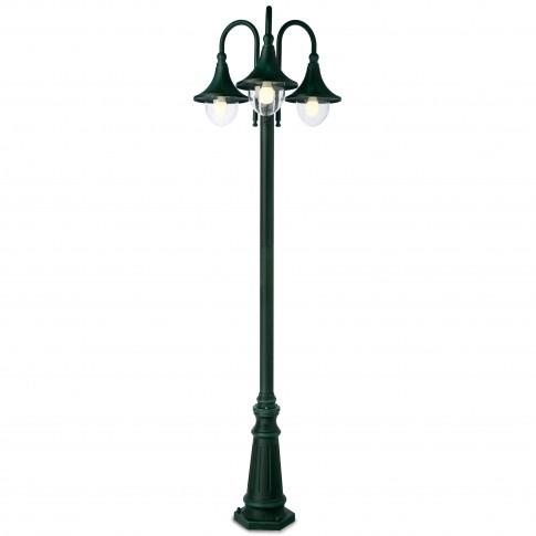 Stalp de iluminat ornamental Varese 9794, 3 x E27, H 220 cm, finisaj negru cu patina verde