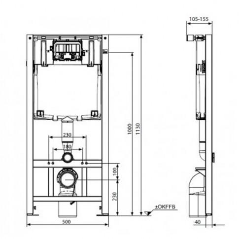 Set vas WC suspendat + rezervor incastrat Slim 2 99642000, din ceramica, 36 x 113 x 52 cm