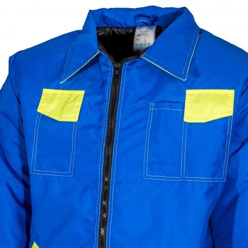 Haina de protectie Geocity Kora, fas impermeabil, albastru + galben, marimea M