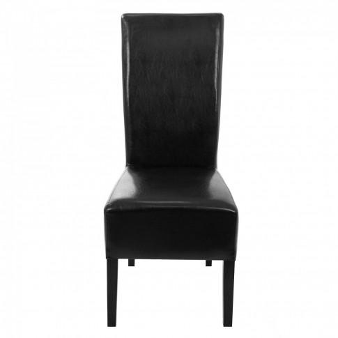 Scaun bucatarie / living fix Munchen, tapitat, lemn negru + imitatie piele neagra