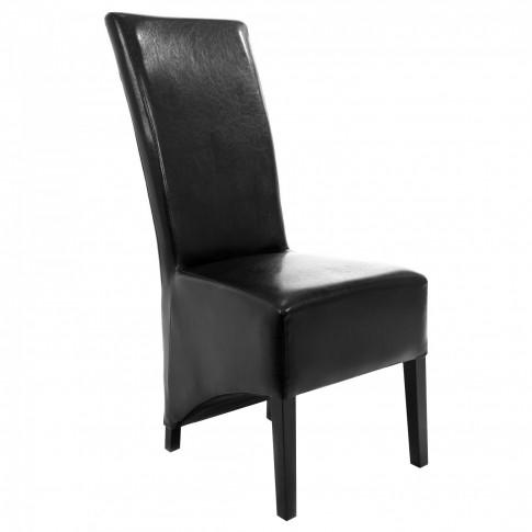 Scaun bucatarie / living fix Munchen, tapitat, lemn negru + imitatie piele neagra, 1C