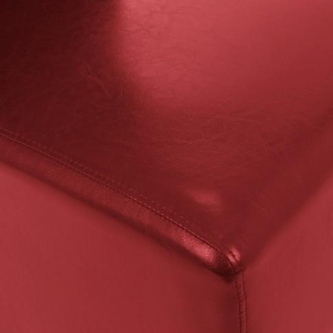Scaun bucatarie / living fix Munchen, tapitat, lemn negru + imitatie piele rosie