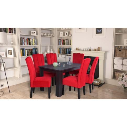 Scaun bucatarie / living fix Wog, tapitat, lemn negru + stofa rosie