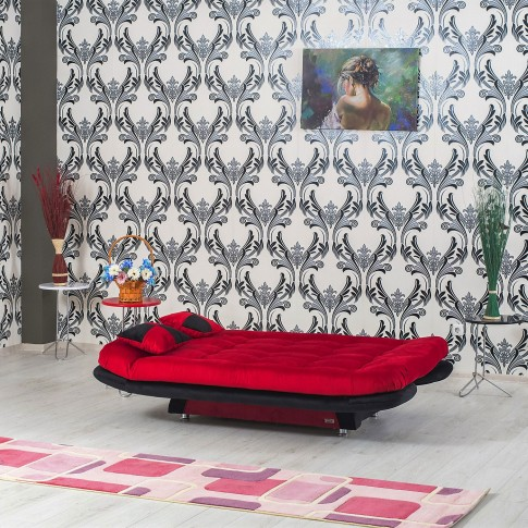 Canapea extensibila 3 locuri Lale, rosu + negru, 182 x 90 x 95 cm, 1C