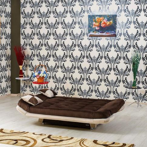 Canapea extensibila 3 locuri Lale, maro + crem, 182 x 90 x 95 cm, 1C