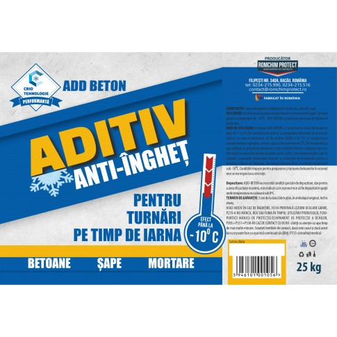 Aditiv anti-inghet pentru betoane si mortare, ADD-Beton, 25 kg