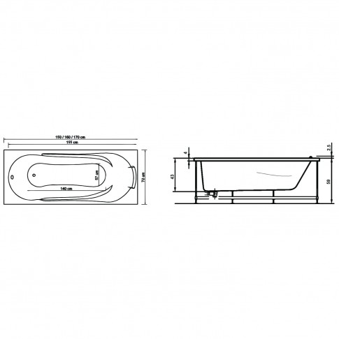 Cada baie cu hidromasaj rectangulara, Afrodita, masca inclusa, acril, 160 x 70 cm