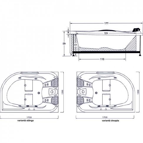 Cada baie 2 persoane, cu hidromasaj, asimetrica, pe colt, montaj pe dreapta, Kadda Aisha, masca inclusa, acril, 168 x 120 cm