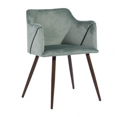 Scaun bucatarie / living fix Aldridge Velvet, tapitat, metal maro + material textil verde