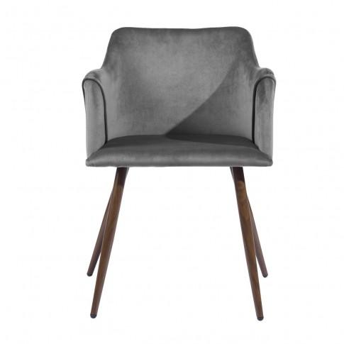 Scaun bucatarie / living fix Aldridge Velvet, tapitat, metal maro + material textil gri