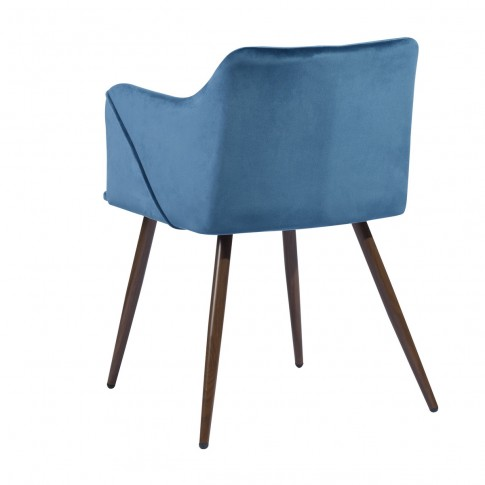 Scaun bucatarie / living fix Aldridge Velvet, tapitat, metal maro + material textil albastru