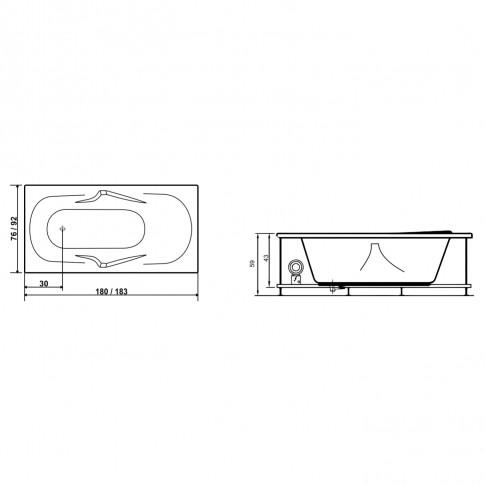 Cada baie cu hidromasaj rectangulara, Alice, masca inclusa, acril, 180 x 76 cm