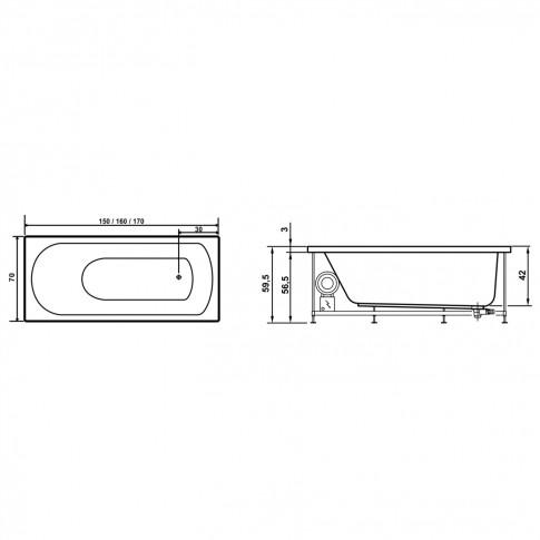 Cada baie cu hidromasaj rectangulara, Amalia, masca inclusa, acril, 160 x 70 cm
