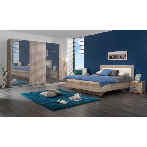 Pat dormitor Duos, matrimonial, cu suport, stejar gri + alb, 160 x 200 cm, 4C