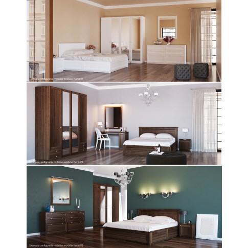 Dulap dormitor Stefan DS7, furnir diverse culori, 4 usi, cu oglinda, 205.5 x 55 x 225 cm, 4C