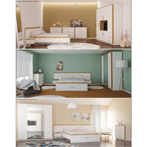 Pat dormitor Stefan DS17, matrimonial, cu sertar, diverse culori, 180 x 200 cm, 2C