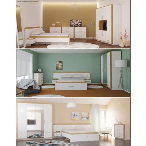 Pat dormitor Stefan DS15, matrimonial, cu sertar, diverse culori, 140 x 200 cm, 3C