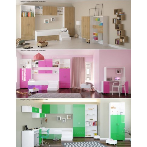 Etajera camera tineret Natalia T3, cu 6 rafturi, diverse culori, 80 x 215 x 35 cm, 1C