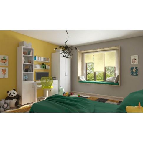 Noptiera camera tineret Stefan, cu 1 raft + 1 sertar, stejar alb, 40 x 48 x 35 cm, 2C