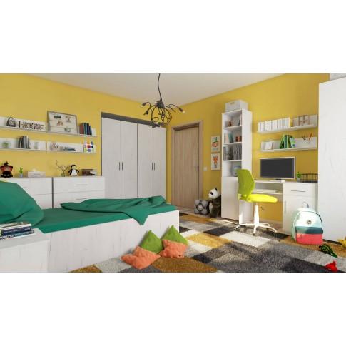 Comoda camera tineret Stefan, cu 3 sertare, stejar alb, 90 x 75 x 40 cm, 1C