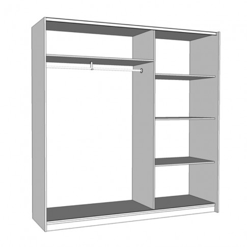 Dulap dormitor Artur, alb, 2 usi glisante, cu oglinda, 200 x 59.5 x 203.5 cm