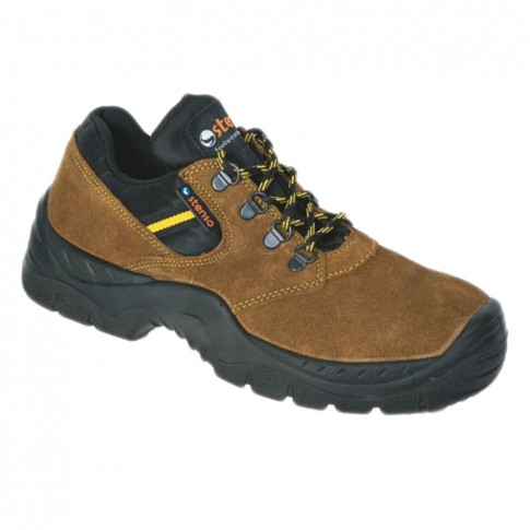 Pantofi de protectie Atletic Low, cu bombeu metalic, piele velur, maro + negru, S1, marimea 40