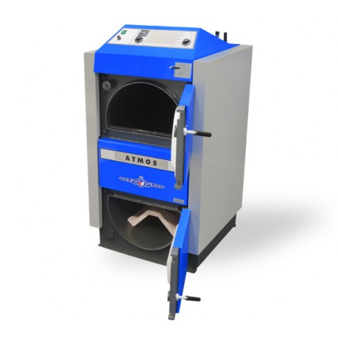 Cazan termic pe lemne Atmos DC25S, cu gazeificare cu exhaustor de fum, din otel,  25 kW