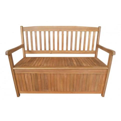 Banca pentru gradina, cu spatar si lada, lemn, natur, 120 x 57.5 x 90 cm, NP03285