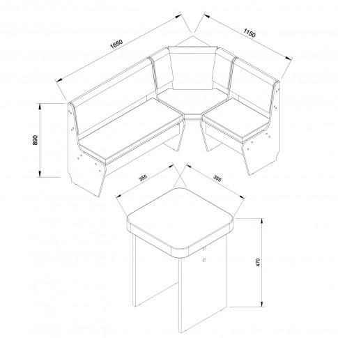 Coltar bucatarie Paris, cu 2 tabureti + lada, sonoma inchis + maro inchis, 165 x 115 x 89 cm, 2C
