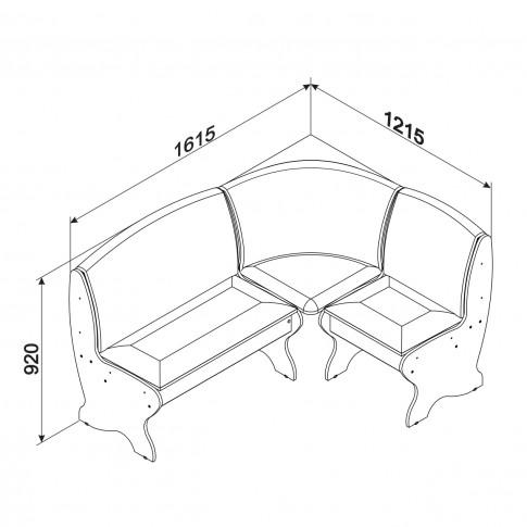 Coltar bucatarie Saxonia, cu 2 tabureti + lada, alb + gri, 161.5 x 121.5 x 92 cm, 3C