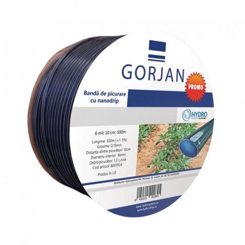 Banda pentru irigatii prin picurare Gorjan, 6 mil, D 16 mm, distanta orificii 10 cm, rola 500 m