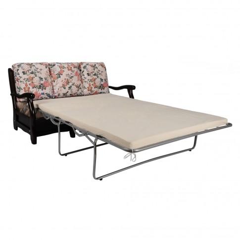 Canapea extensibila 3 locuri Bari Classic, model floral + maro, 160 x 91 x 90 cm, 1C