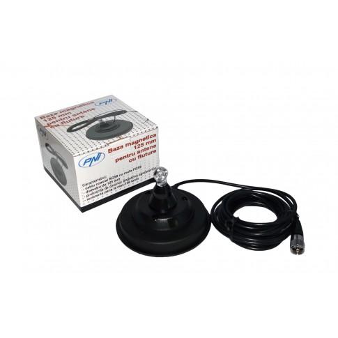 Baza magnetica PNI 120/DV, diametru 125 mm, compatibila cu antenele cu fluture, contine suport de cauciuc + cablu 4 m + mufa PL259