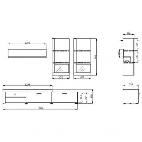 Biblioteca living Belt, stejar gri + alb, 215 cm, 2C