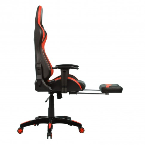 Scaun birou gaming Bergara, rotativ, PVC, negru + rosu