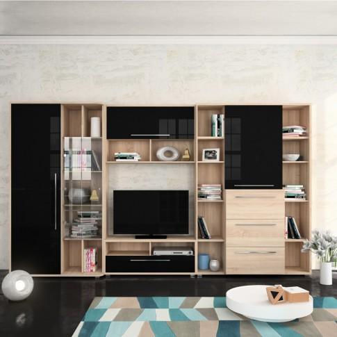 Biblioteca living Dafne, stejar bardolino + negru lucios, 359 cm, 7C
