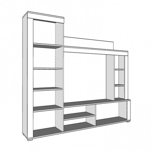 Biblioteca living Heron, stejar sonoma + latte, 188.5 cm, 2C