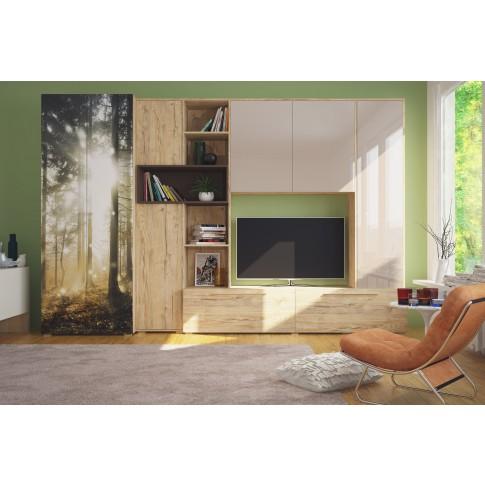Biblioteca living Zenit, sherwood + crem lucios + maro + print P21, 315 cm, 5C
