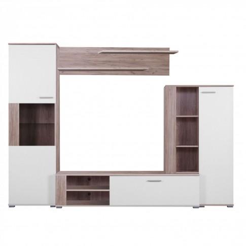 Biblioteca living Dorm, stejar gri + alb, 253.5 cm, 3C