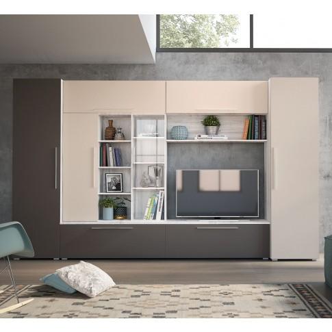 Biblioteca living Neo, stejar nordic + satin + gri piatra, 350 cm, 6C